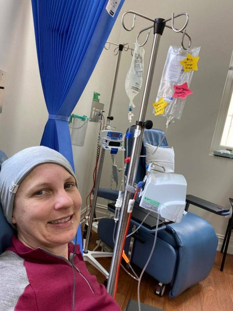 Jo receiving immunotherapy treatment